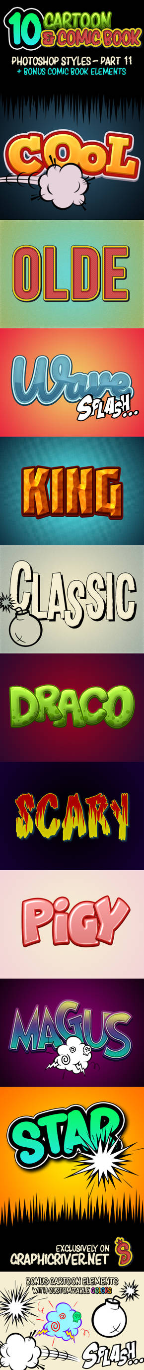 Cartoon and Comic Book Photoshop Styles - PART 11