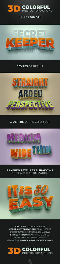 3D Colorful Grunge Photoshop Text Actions