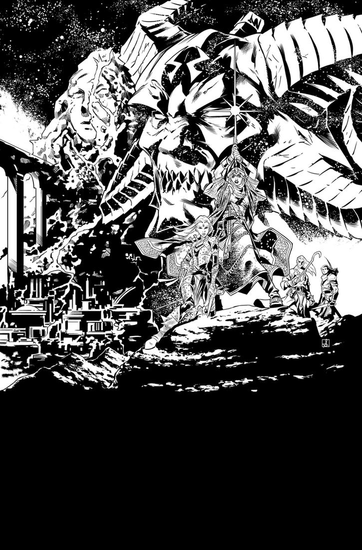 Pathfinder Hollow Mountain 1 Cover Inks by sean-izaakse