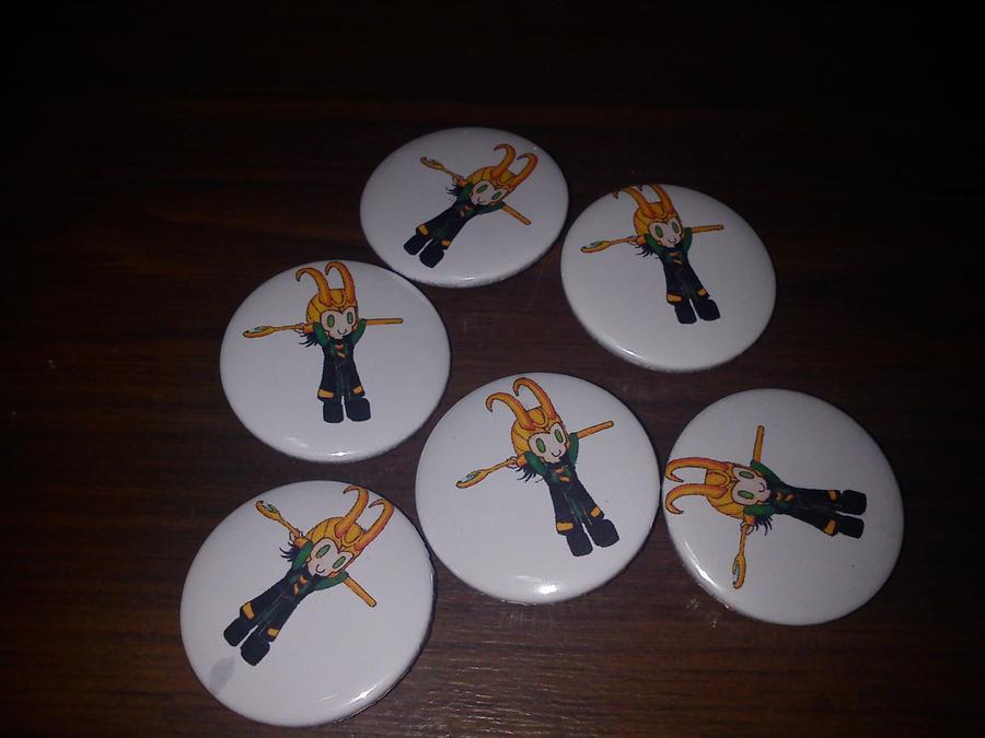 Chibi Loki Badges, for sale by Baka-customs