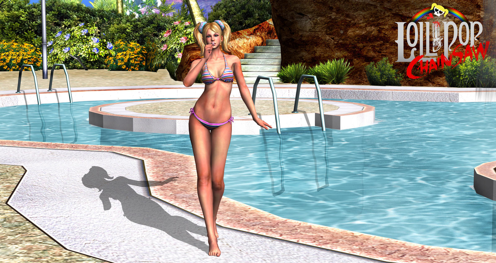 Lollipop Chainsaw - Swimming Pool by simochanny
