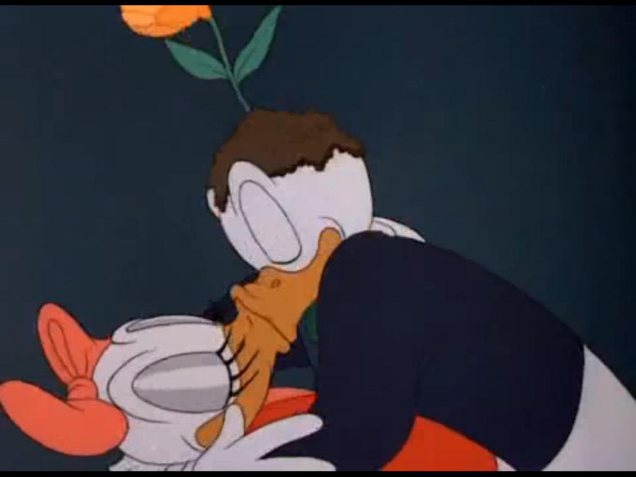 Donald and daisy duck kissing drawing - photo#3