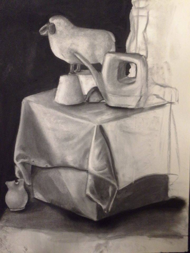 Never to be finished charcoal still life by PiggyEmpire
