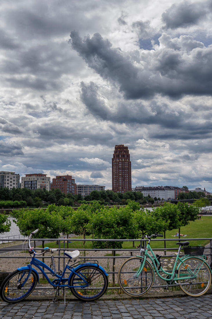 Frankfurt East Bicycles And Clouds by Netsrotj