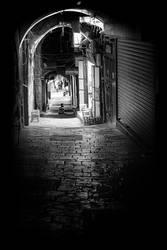 Cobblestone Alley Jerusalem Old City BW