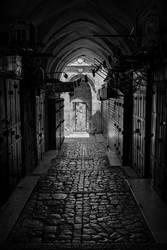 BW Empty Street Old City Jerusalem