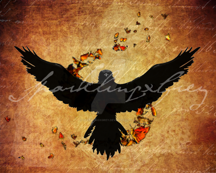 Digital Raven and Evanescence Moths Print