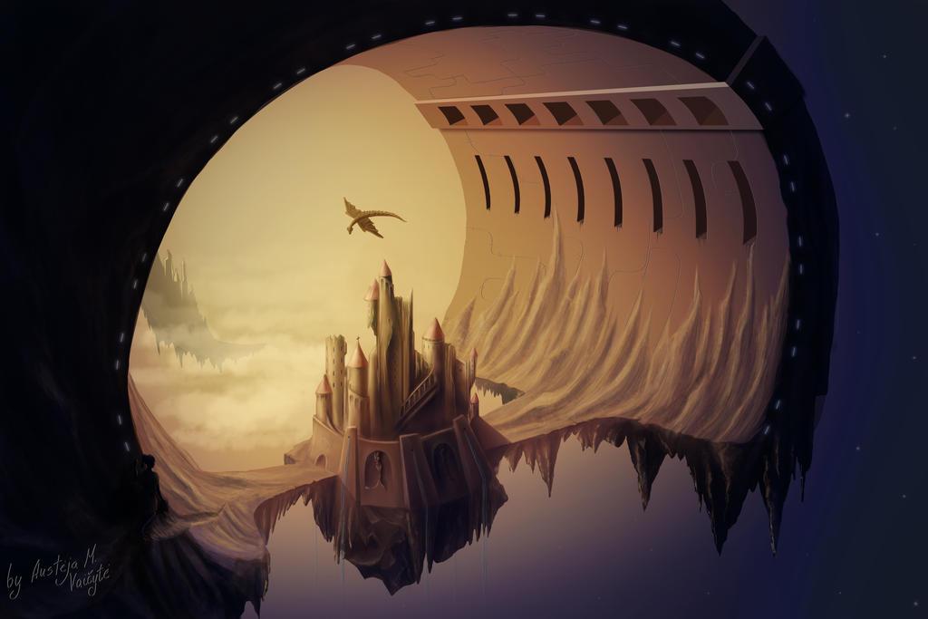 Sky Castle by BlueBitArt