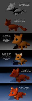 steps of making a plushie in Blender by BlueBitArt