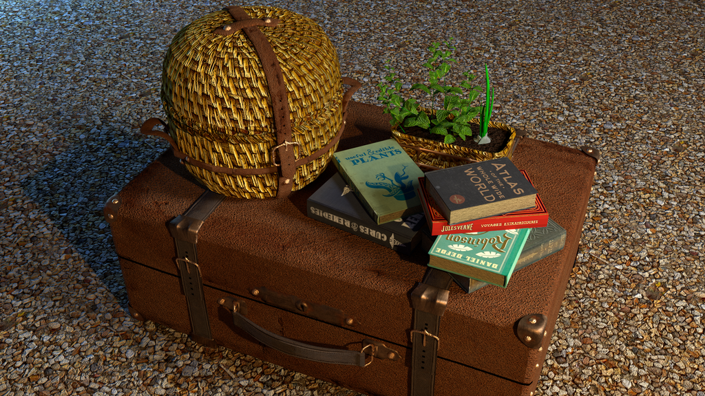 Luggage, basket and a couple of books by BlueBitArt