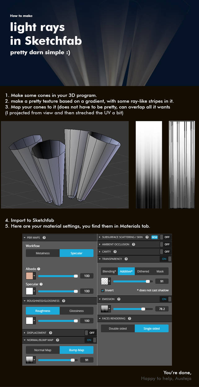 Make Light Rays In Sketchfab- Tutorial by BlueBitArt on