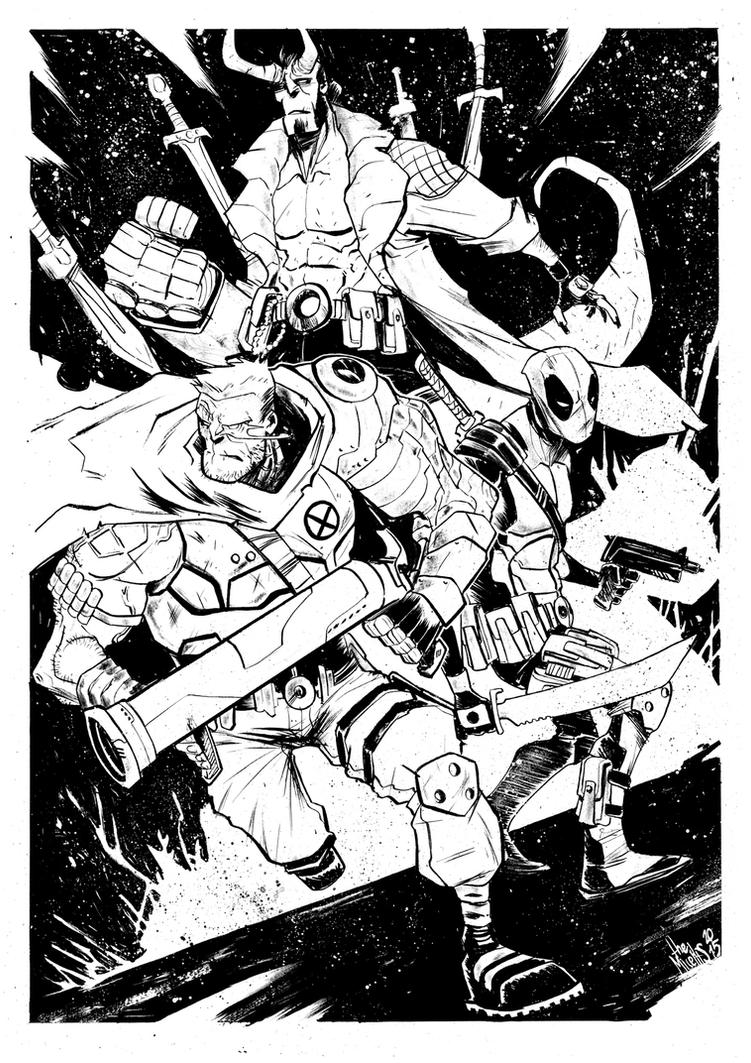 Cable|Deadpool|Hellboy by alessandromicelli