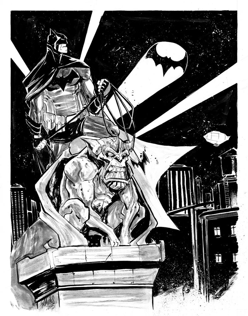 Batman on Gargoyle by alessandromicelli