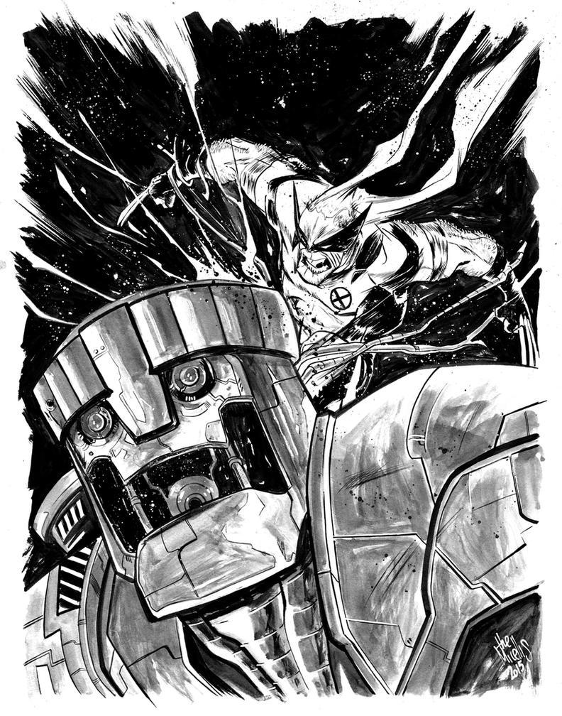 Wolverine vs Sentinel by alessandromicelli