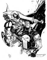 Taskmaster and Punisher by alessandromicelli