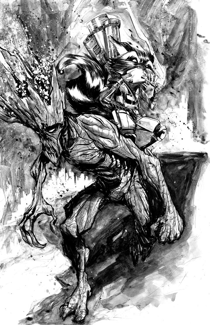 Groot and Rocket by alessandromicelli