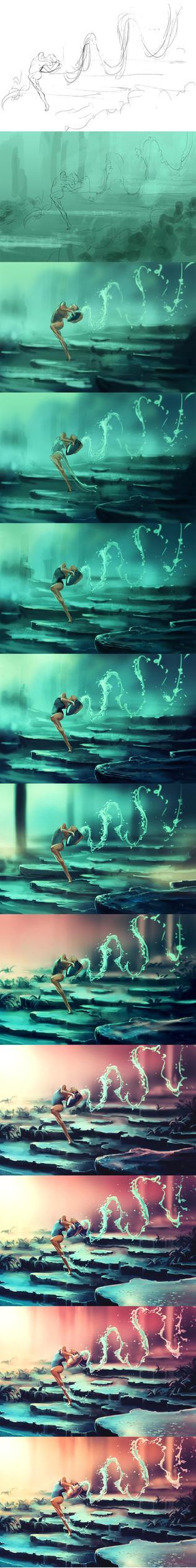 WIp of Dancing Zodiac AQUARIUS by AquaSixio