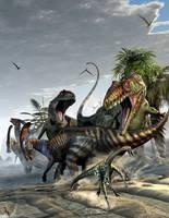 Giganotosaurus and Parasaurolophus by KMIStudio