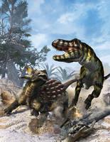 Ankylosaurus vs Tyrannosaur by KMIStudio