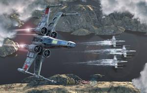 X-Wing-Along-The-River by KMIStudio