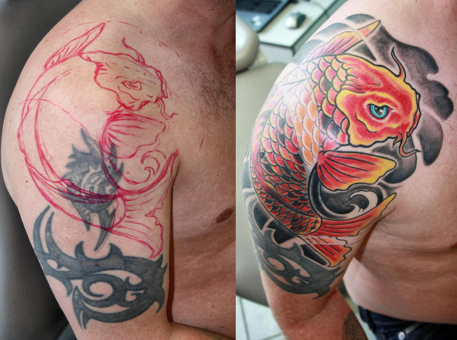 Cover up with Koi fish by gettattoo on DeviantArt