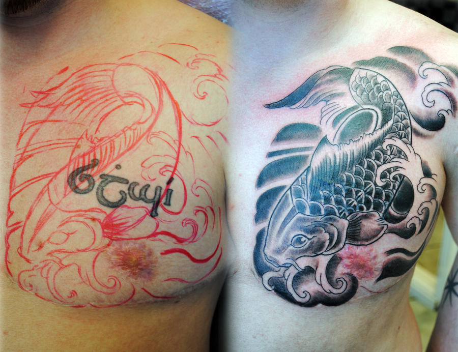 Koi Freehand Cover up by gettattoo on DeviantArt
