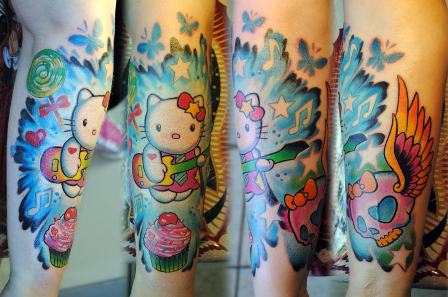 2ad29297e63b7 Hello Kitty half sleeve by gettattoo on DeviantArt