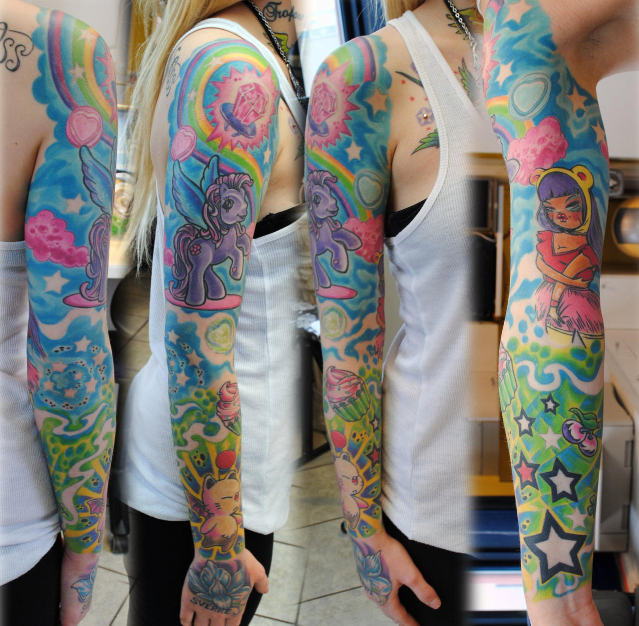 Full Sleeve In Colors Girl By Gettattoo On DeviantArt
