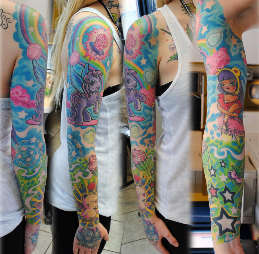 Tattoo Woman Getting: Full Sleeve In Colors Girl By Gettattoo On DeviantArt