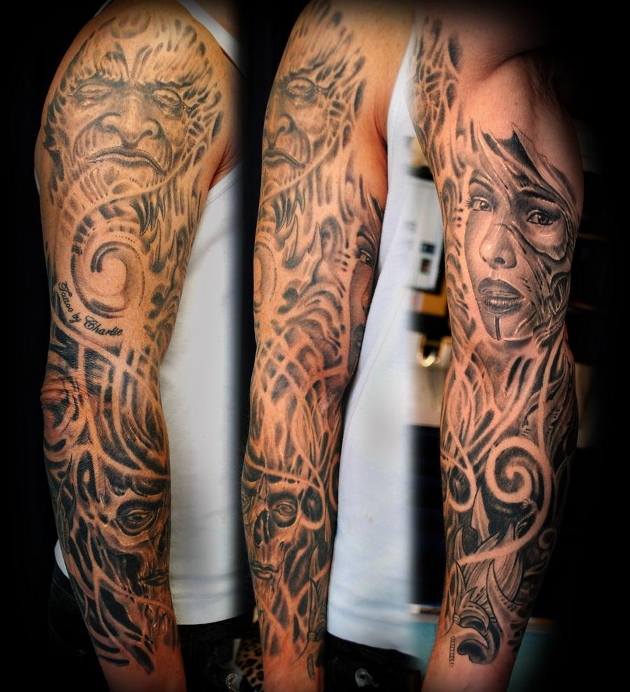 Sleeve tattoo biomechanic by gettattoo