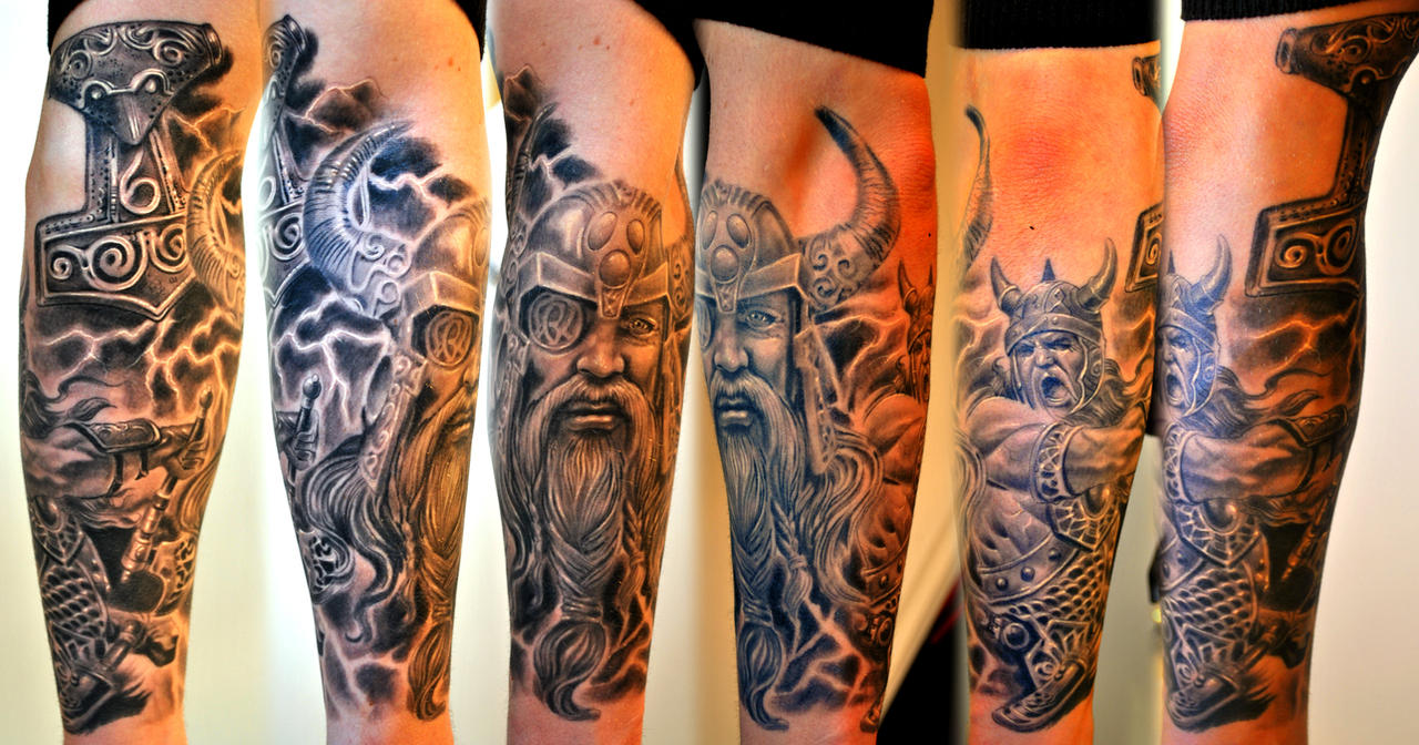 Viking sleeve healed by gettattoo on deviantart for Viking tattoo sleeves
