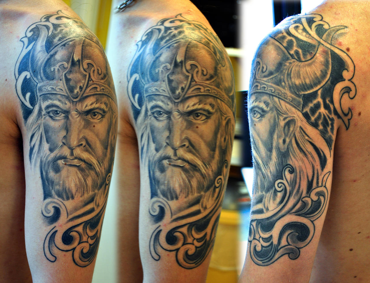 Viking half sleeve healed by gettattoo