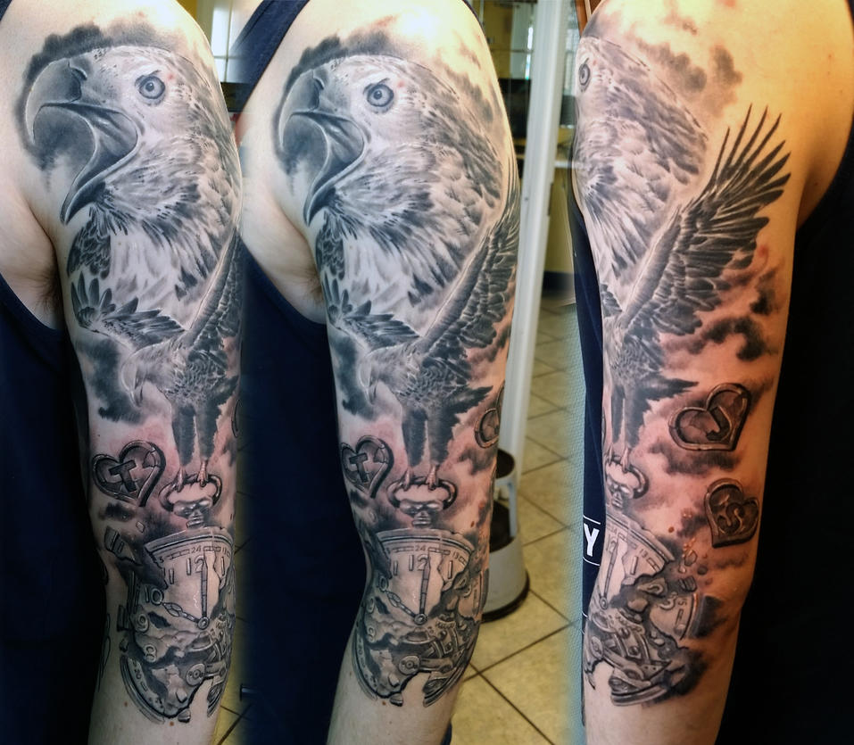 eagle sleeve tattoo by gettattoo on deviantart. Black Bedroom Furniture Sets. Home Design Ideas
