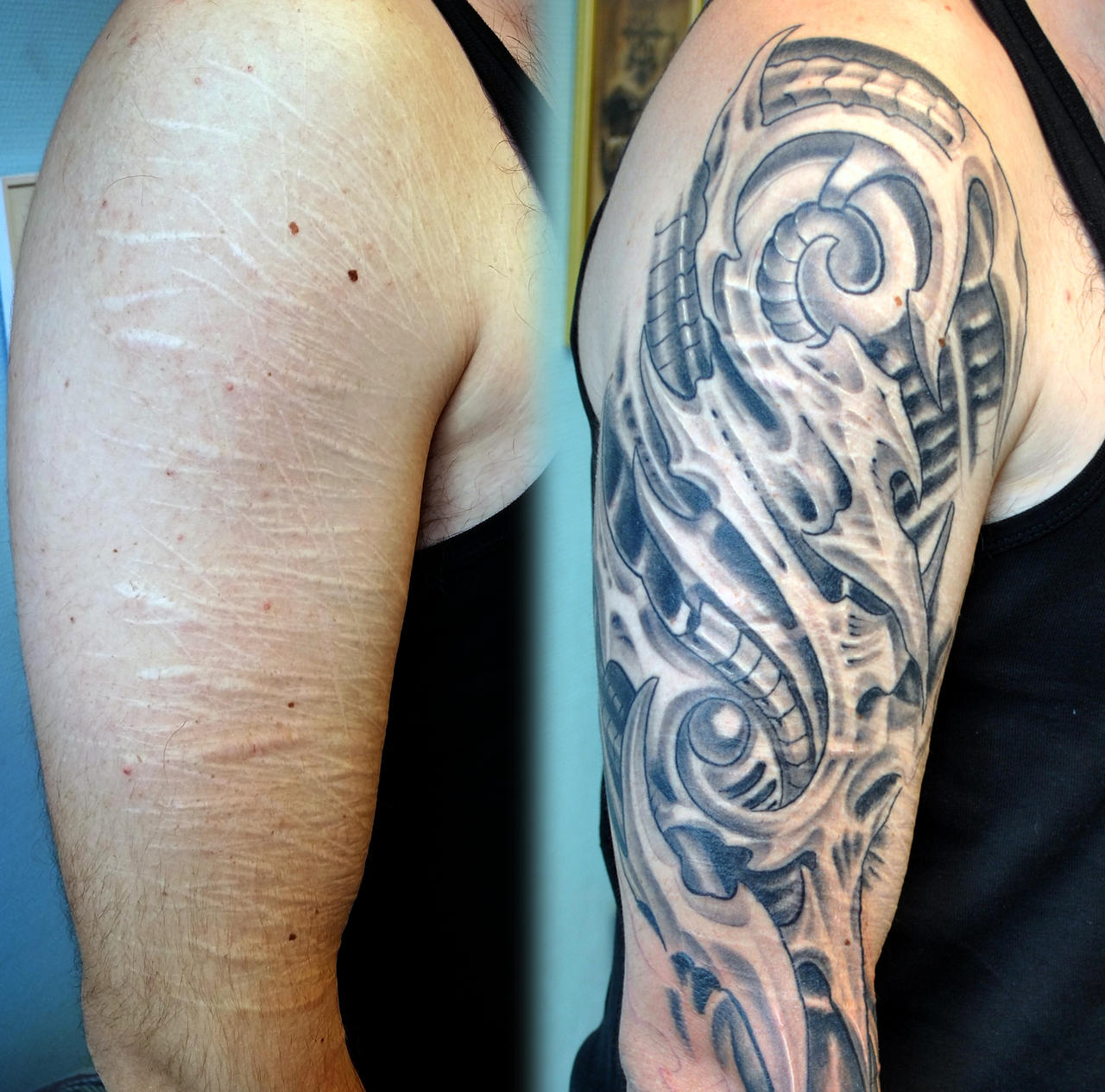 Cover scars biomech tattoo by charlie by gettattoo on for Covering scars with tattoo before and after