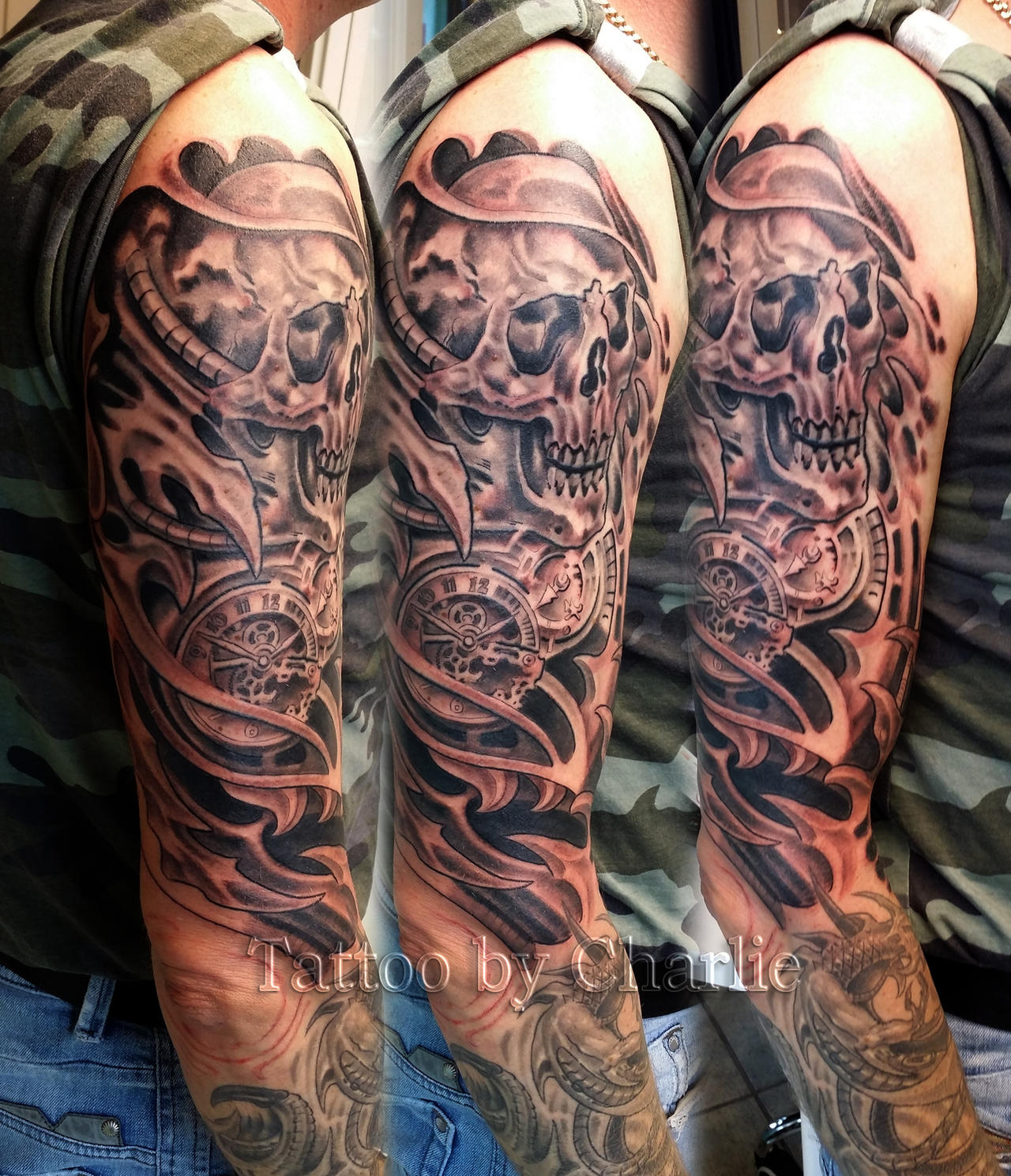 biomech skull sleeve in progress by gettattoo on deviantart. Black Bedroom Furniture Sets. Home Design Ideas