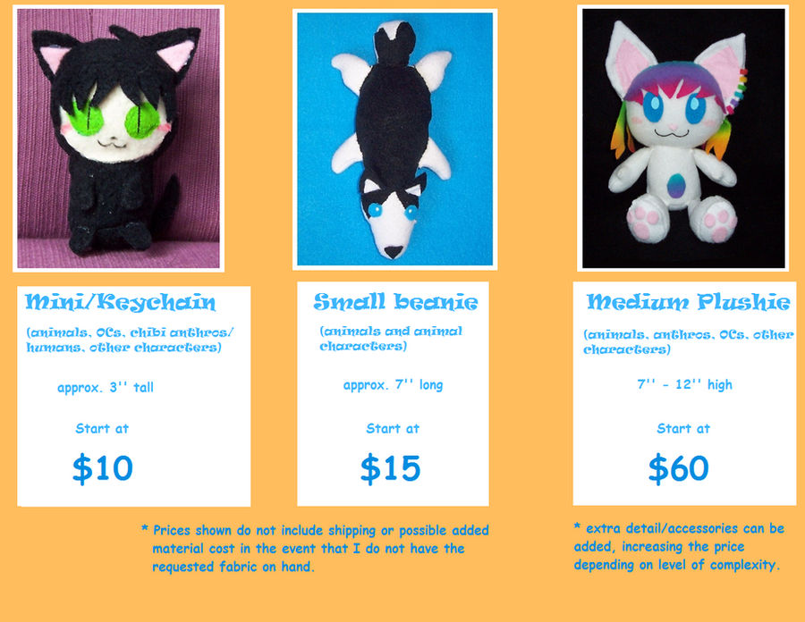 Plushie Commissions Price Chart