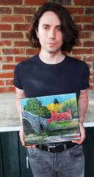 Self portrait with oil painting - Tu Hwnt i'r Bont