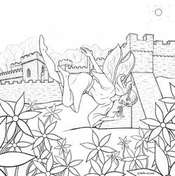 Fairy at Gwrych castle line art