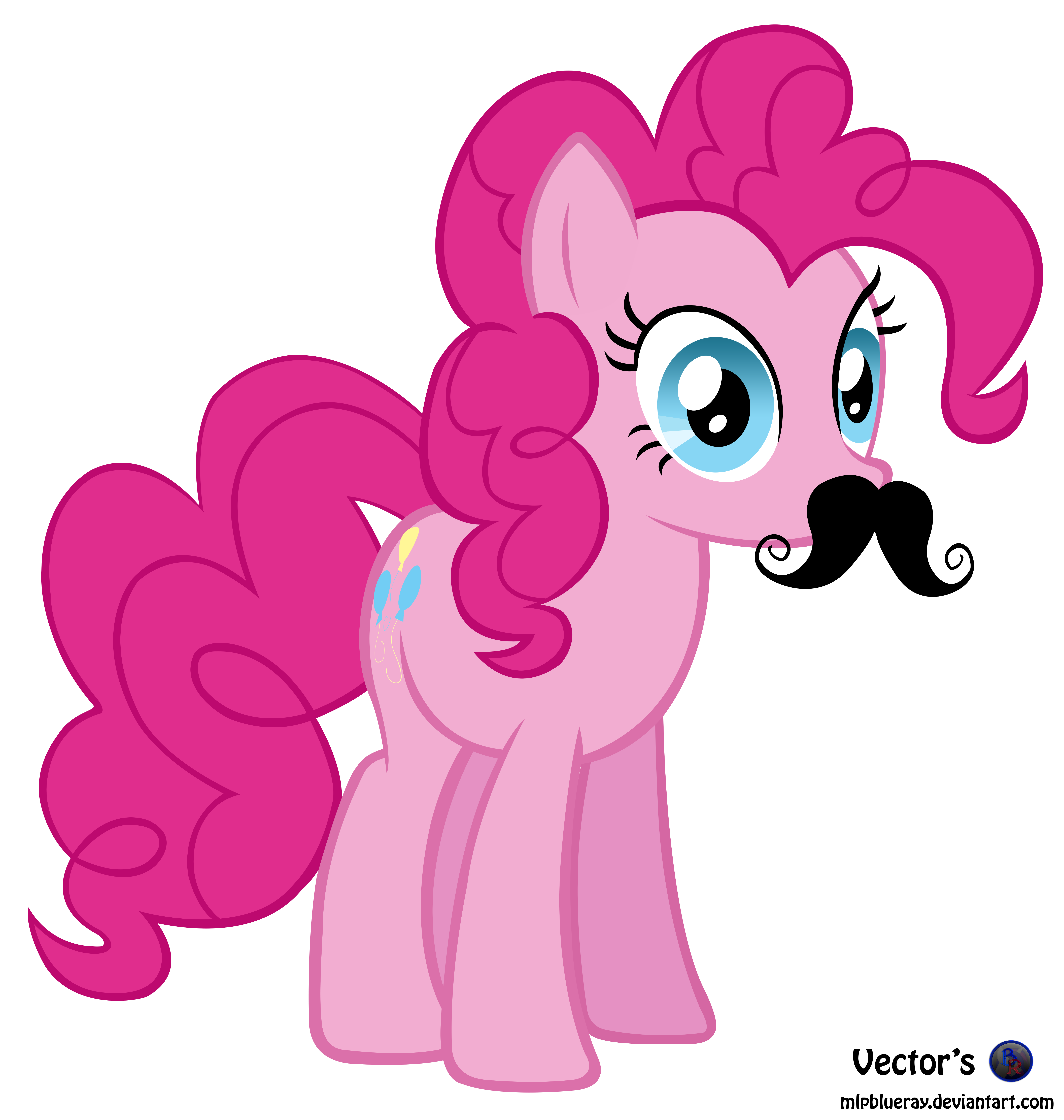 mlp vector pinkie pie mustache by mlpblueray