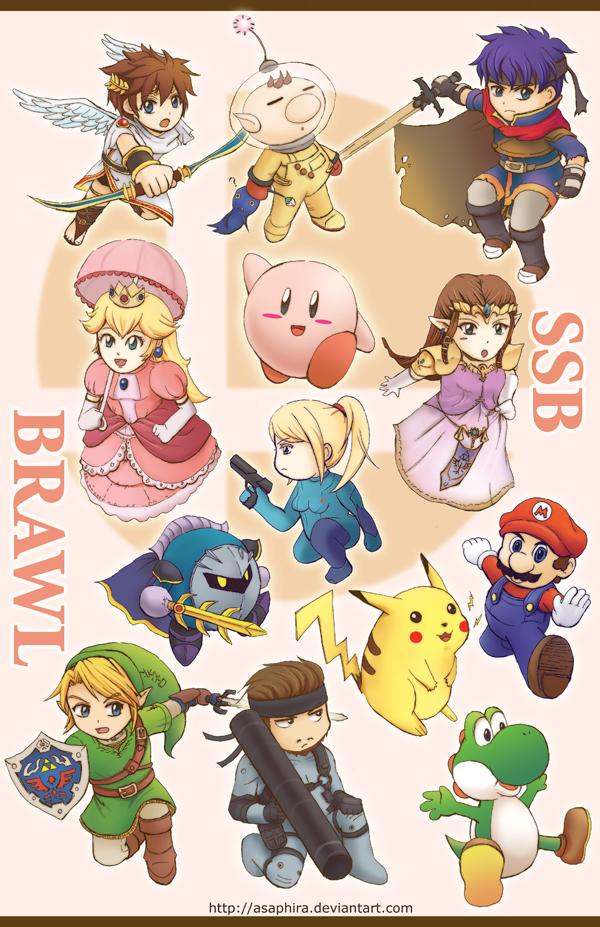 Smash Bros BRAWL chibis by Asaphira