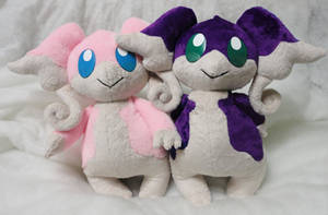Audino plushies by Rens-twin
