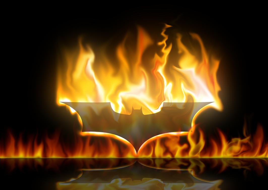 Batman Logo On Fire Bat on fire by the-big-al