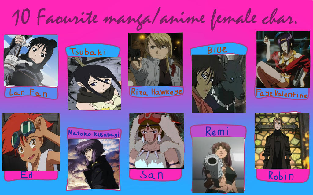 Top 1 Anime Characters : Top female anime manga characters by raelae on deviantart