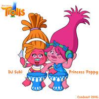 Dreamworks' Trolls - DJ Suki and Poppy in SE style by Csodaaut