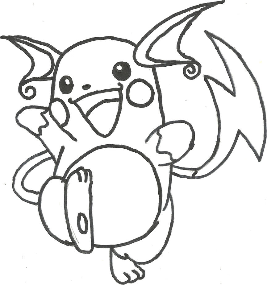 Pokemon Raichu Coloring Pages Sketch