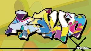 KAWS graffiti wall