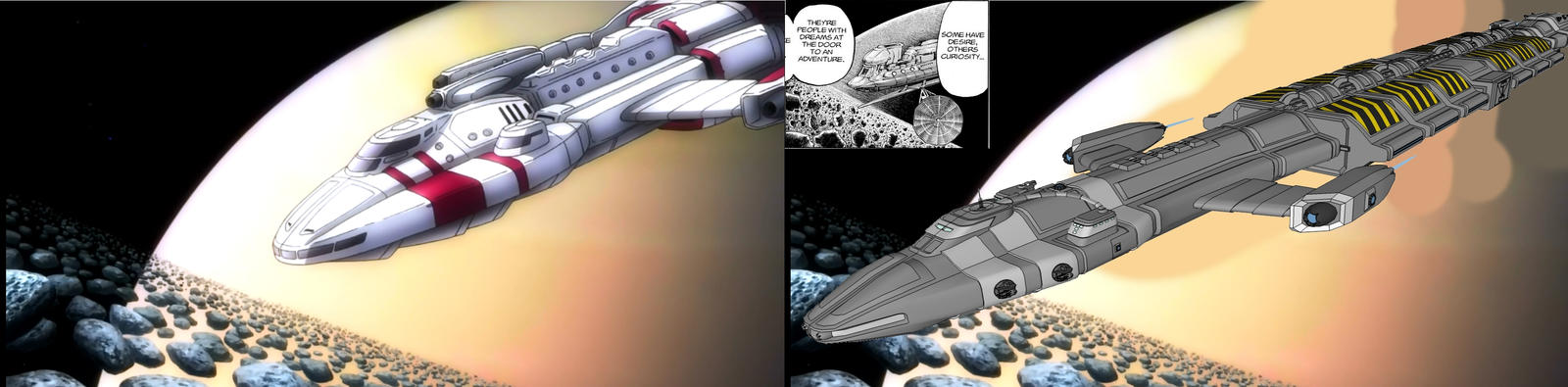 My Hydra Freighter vs ship in Space Brothers anime