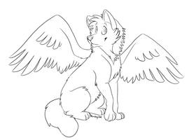 Winged wolf free lines by Bonday