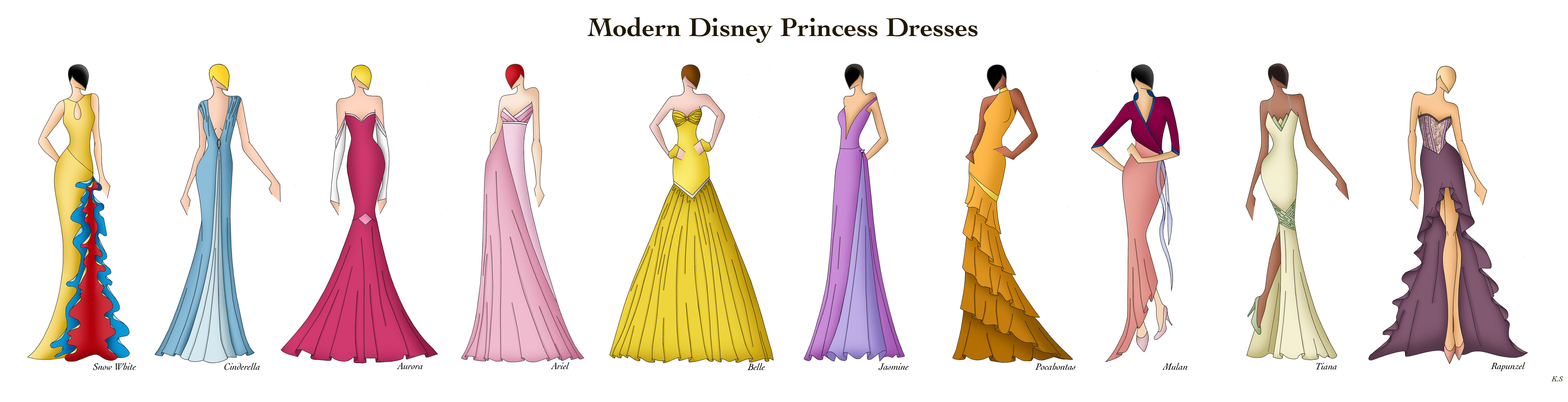 Modern Disney Princess Dresses by Ellevira