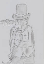 Monkey in a suit with a top-hat eating a banana